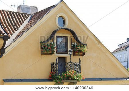 Prague Czech - 03 July 2015: The Facade of the one of Residental houses near the Charles Bridge