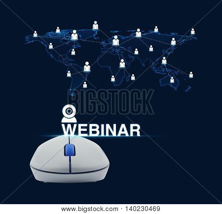 Wireless computer mouse with webinar icon and businessman world map connection over blue background Seminar online concept Elements of this image furnished by NASA