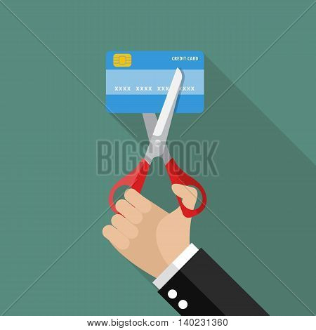 Hand cutting credit card. Business concept vector illustration