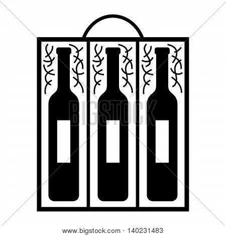 Three wine bottles in a wooden box