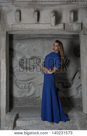 beautiful girl in the dress in the studio