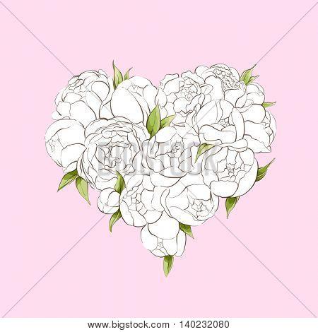 White peonies heart