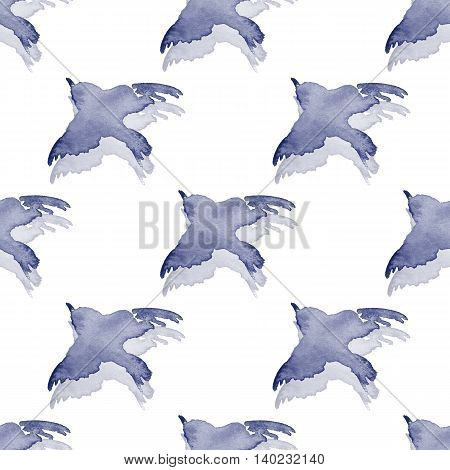 Background with simple watercolor birds 4. Seamless pattern