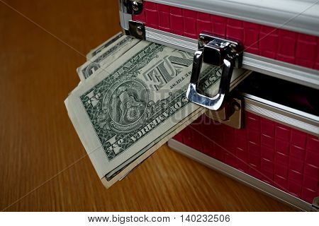 Small pink strongbox with silver edges holding thick pack of money (American Dollars, USD) as a symbol of protected and safely stored wealth