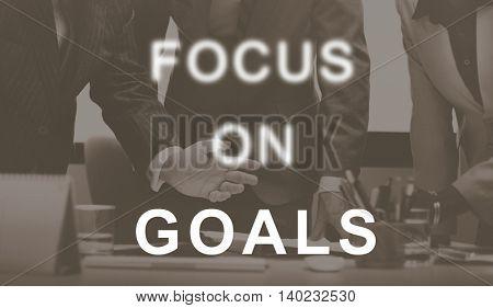 Focus On Goals Text Graphics Concept