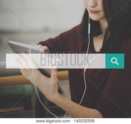 Woman Connecting Tablet Networking Concept