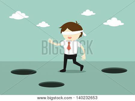 Business concept, Blindfolded businessman is walking. Vector illustration.