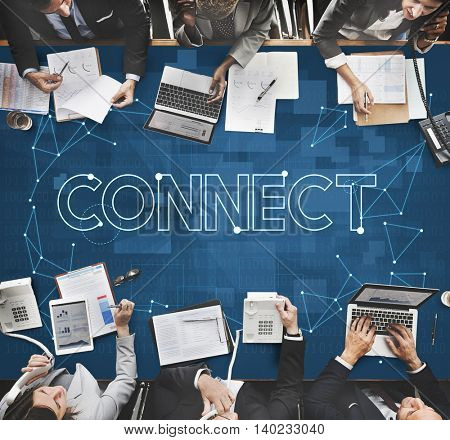 Connect Communication Link Network Sharing Concept