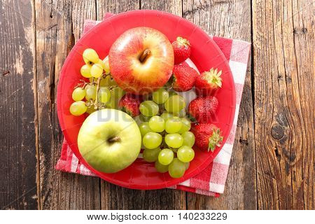 apple,grape and strawberry