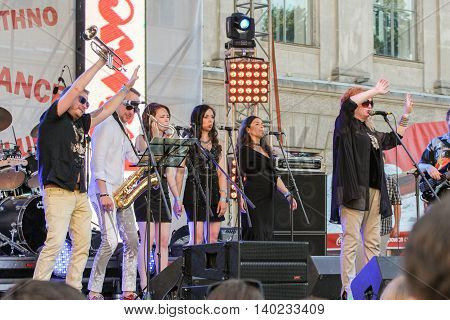 St. Petersburg, Russia - 2 July, Artists with flapping arms to the side, 2 July, 2016. Annual international festival of jazz and blues in St. Petersburg.