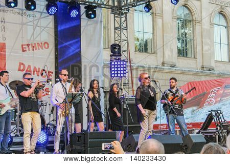 St. Petersburg, Russia - 2 July, Execution of live music on stage, 2 July, 2016. Annual international festival of jazz and blues in St. Petersburg.