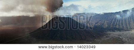 Ash eruption of the Bromo volcano. East Java. Indonesia