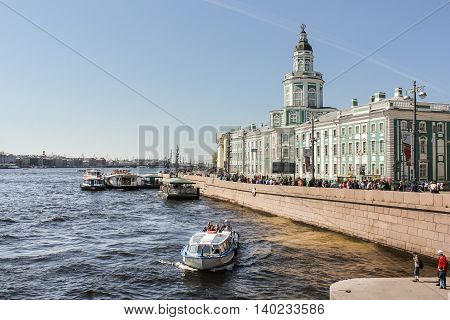 St. Petersburg, Russia - 9 May, The building of the Kunstkamera and Museum of Anthropology., 9 May, 2016. Travel types of summer Saint-Petersburg along the Neva River.