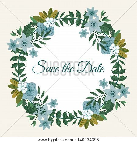 Cute save the date template design card with flower decoration vector illustration