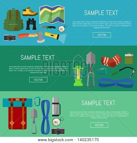 Camping and hiking symbols and icons on banners set flat vector illustration