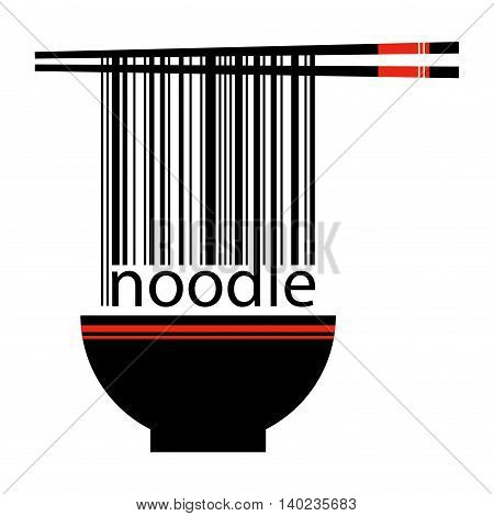 Vector stock of chopstick holding barcode with noodle word from a bowl