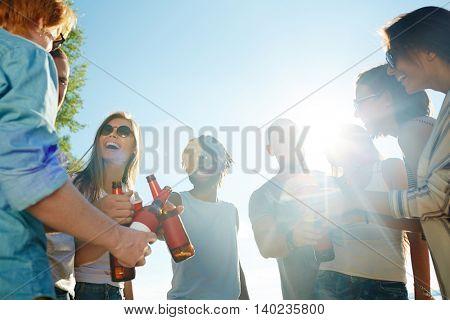 Joyful friends at party