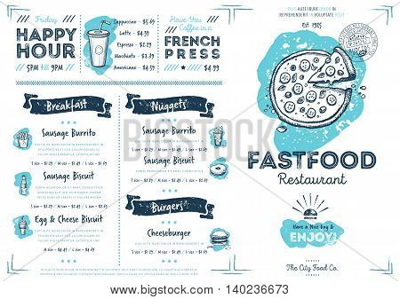 Restaurant menu design. Fast food cafe menu. Food menu template. Restaurant flyer vintage design vector illustration. Gourmet menu board. Cafe flyer. Hand drawings food elements. Vintage menu. Menu card.