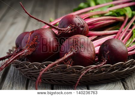 Fresh beets on wooden background, selective focus