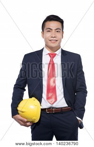Asian young businessman architect on white background