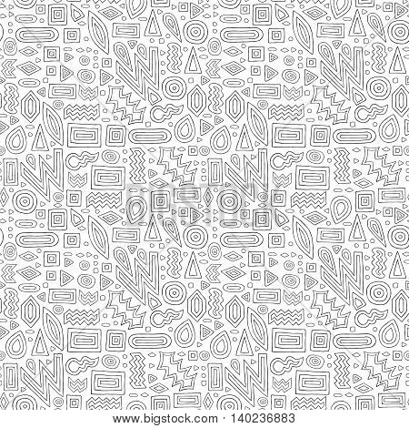 Aztec Abstract Doodles Ornament Pattern Black