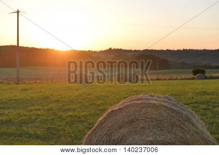 Hay roll on a hill in France