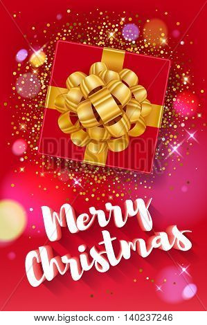 Merry Christmas greeting colorful vector illustration. Vintage classic 3D letters calligraphy and gift box with golden ribbon poster card banner design. New year background - golden glow stars bokeh.