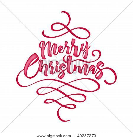 Merry Christmas greeting text vector illustration. Vintage classic letters calligraphy poster card banner design.