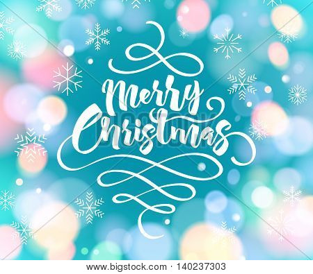 Merry Christmas greeting text colorful vector illustration. Vintage classic letters calligraphy poster card banner design with glow bokeh and snowflakes.