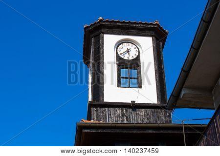 Clock tower in old town Nessebar or Nesebar in Bulgaria, Black sea