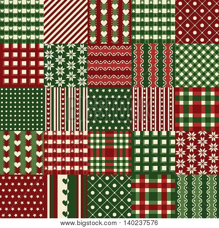 Seamless Christmas Patchwork Background