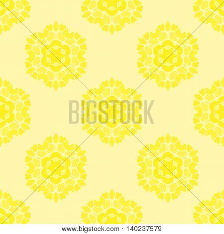 Creative Ornamental Seamless Yellow Pattern. Geometric Decorative Background