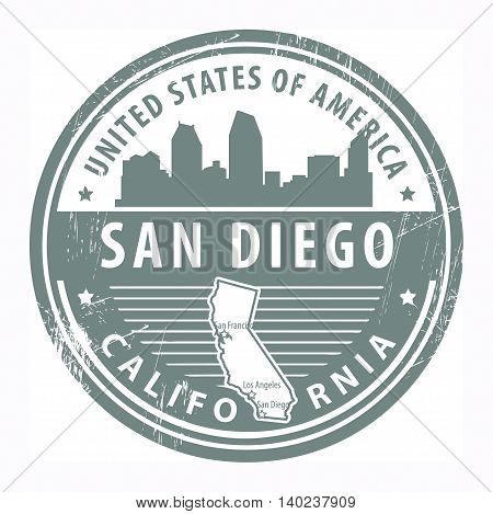 Grunge rubber stamp with name of California, San Diego, vector illustration