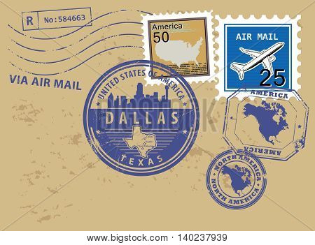 Grunge rubber stamp set with name of Texas, Dallas, vector illustration