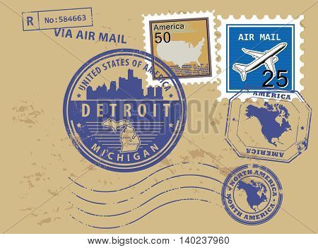 Grunge rubber stamp set with name of Michigan, Detroit, vector illustration