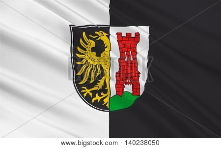 Flag of Kempten is the largest town of Allgaeu in Swabia Bavaria Germany. 3d illustration