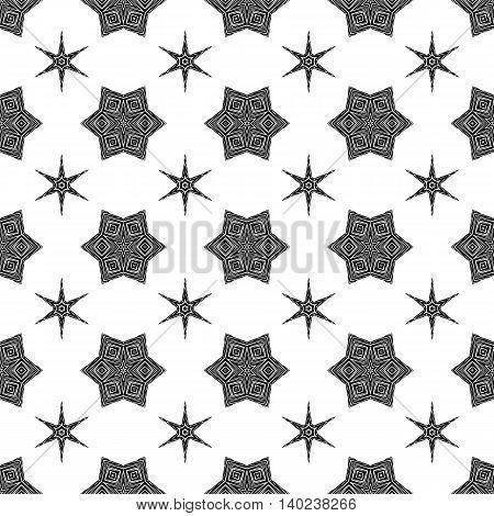 Creative Ornamental Seamless Black Pattern. Geometric Decorative Background