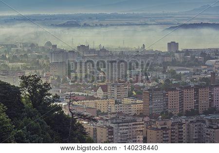 Misty Morning Cityscape
