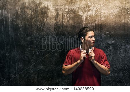 Boy Alone Standing Wall Earphone Concept