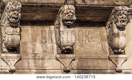 The detail of a baroque balcony in sicily