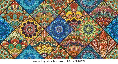 Boho tile background. Colorful patchwork for fabric print, furniture, wallpaper, fashionable textile. Square design elements. Unusual flower ornament. Vector oriental mandala decoration.
