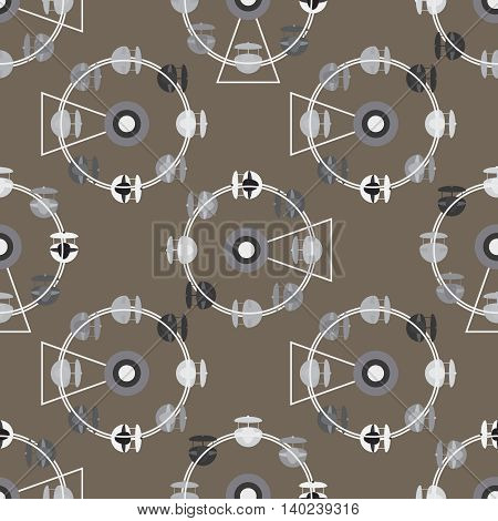 Brown attraction ferris wheel new seamless pattern.