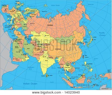 欧亚大陆的政治地图