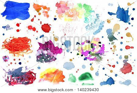 Watercolor hand painted banners and splatters collection
