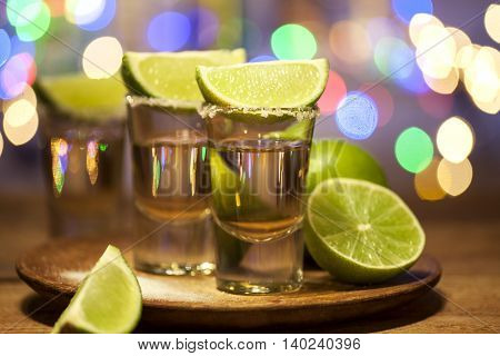 Tequila Shots On A Bar