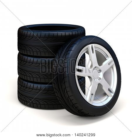 3d tires and alloy wheel on white background