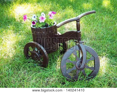 Cute Flower-Bed in the Shape of Wooden Bicycle