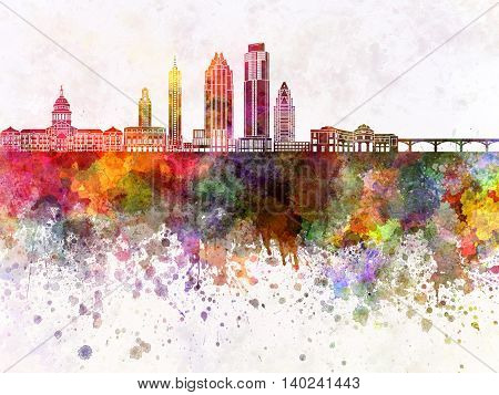 Austin skyline artistic abstract in watercolor background
