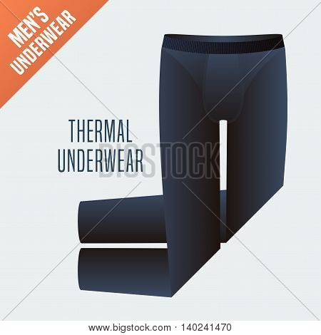 Men's underwear vector illustration. Garment clothes detail design element displayed for retail. Men thermal warm underwear model