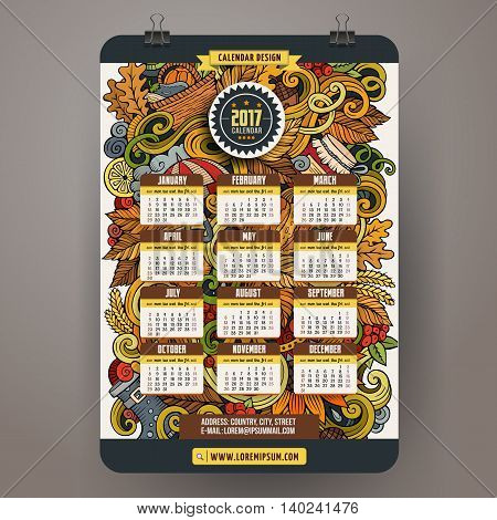 Cartoon colorful hand drawn Autumn doodles 2017 year calendar template. English, Sunday start. Very detailed, with lots of objects illustration. Funny vector artwork